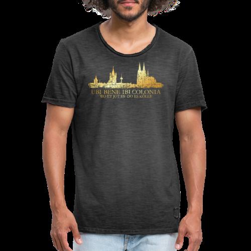 Kölner Skyline (Vintage) mit römischem Köln Spruch - Männer Vintage T-Shirt