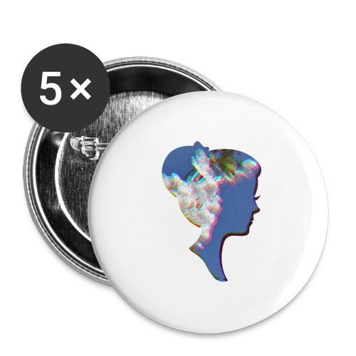 Dame mit Kirschblüten - Buttons mittel 32 mm (5er Pack)
