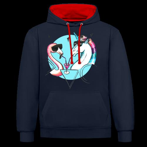 Flamingo & Einhorn - Kontrast-Hoodie