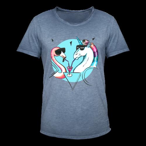 Flamingo & Einhorn - Männer Vintage T-Shirt