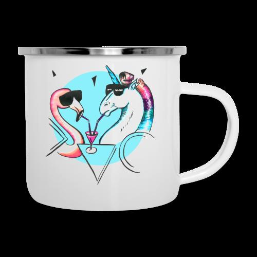 Flamingo & Einhorn - Emaille-Tasse