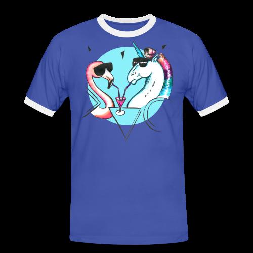 Flamingo & Einhorn - Männer Kontrast-T-Shirt
