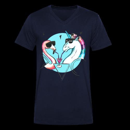 Flamingo & Einhorn - Männer Bio-T-Shirt mit V-Ausschnitt von Stanley & Stella