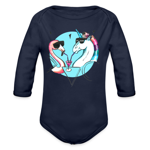 Flamingo & Einhorn - Baby Bio-Langarm-Body