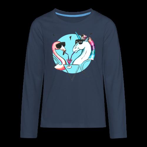 Flamingo & Einhorn - Teenager Premium Langarmshirt