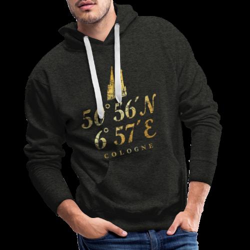 Kölner Dom Koordinaten (Vintage Goldgelb) Längen- und Breitengrad - Männer Premium Hoodie