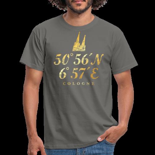 Kölner Dom Koordinaten (Vintage Goldgelb) Längen- und Breitengrad - Männer T-Shirt