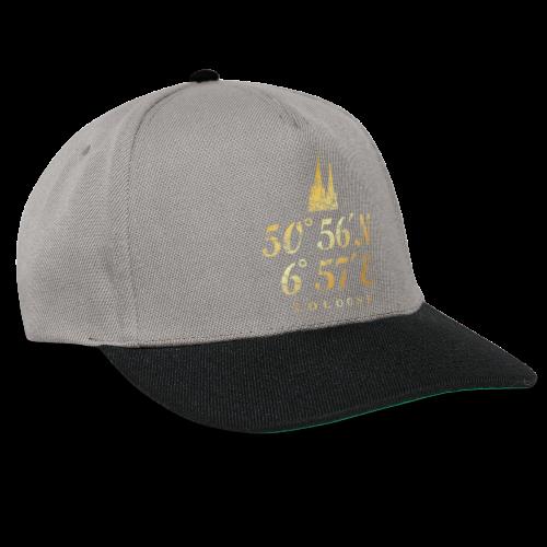 Kölner Dom Koordinaten (Vintage Goldgelb) Längen- und Breitengrad - Snapback Cap