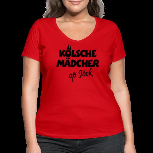 Kölsche Mädcher op Jöck Mädchen aus Köln Unterwegs - Frauen Bio-T-Shirt mit V-Ausschnitt von Stanley & Stella