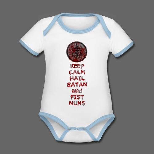 Keep Calm - Kortærmet ækologisk babybody i kontrastfarver