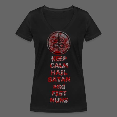 Keep Calm - Økologisk Stanley & Stella T-shirt med V-udskæring til damer