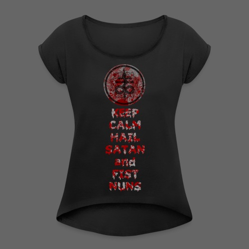 Keep Calm - Dame T-shirt med rulleærmer