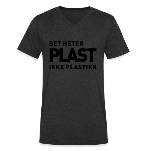 Det heter plast - Økologisk T-skjorte med V-hals for menn fra Stanley & Stella