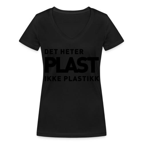 Det heter plast - Økologisk T-skjorte med V-hals for kvinner fra Stanley & Stella