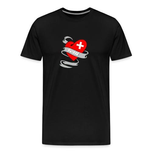 Mon coeur est pour la Suisse - Drapeau Suisse - T-shirt Premium Homme