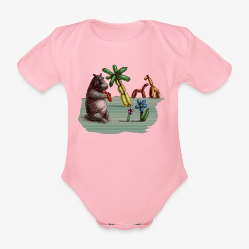 Hippo Balloon Artist - Organic Short-sleeved Baby Bodysuit