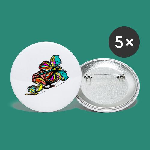 Frauen T- Shirt Schmetterlinge - Buttons groß 56 mm (5er Pack)