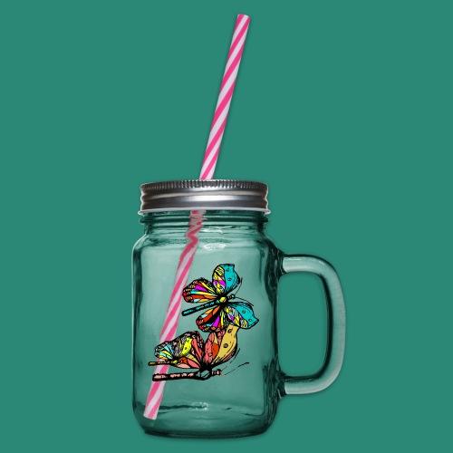 Frauen T- Shirt Schmetterlinge - Henkelglas mit Schraubdeckel