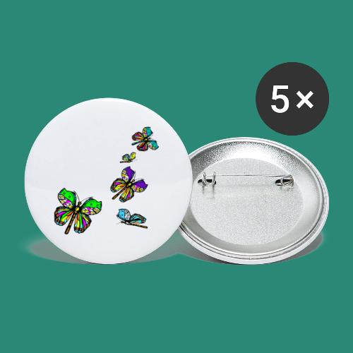 Schmetterlinge,Butterflies, T-shirt, - Buttons groß 56 mm (5er Pack)