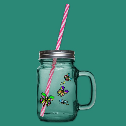 Schmetterlinge,Butterflies, T-shirt, - Henkelglas mit Schraubdeckel