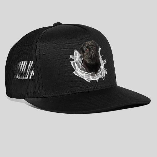 Schwarzer Mops im Glas Loch - Trucker Cap