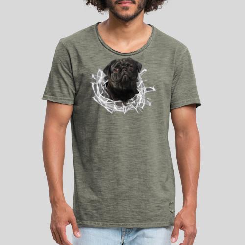 Schwarzer Mops im Glas Loch - Männer Vintage T-Shirt
