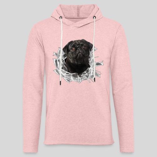 Schwarzer Mops im Glas Loch - Leichtes Kapuzensweatshirt Unisex