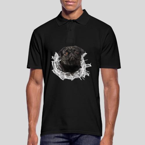 Schwarzer Mops im Glas Loch - Männer Poloshirt