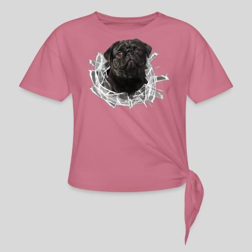 Schwarzer Mops im Glas Loch - Knotenshirt