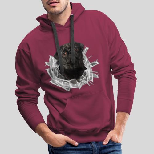 Schwarzer Mops im Glas Loch - Männer Premium Hoodie