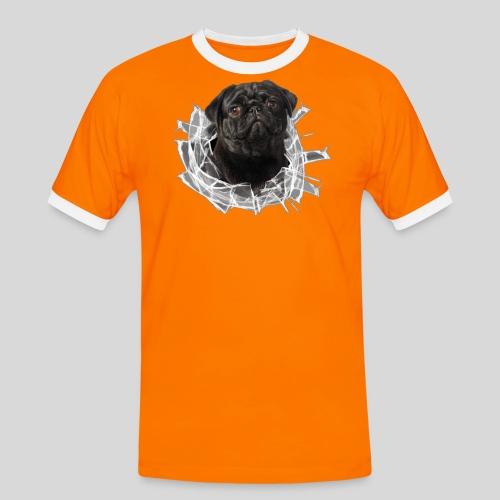 Schwarzer Mops im Glas Loch - Männer Kontrast-T-Shirt