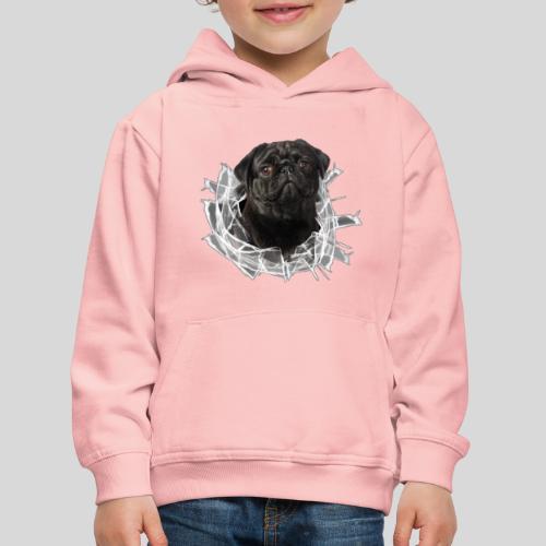 Schwarzer Mops im Glas Loch - Kinder Premium Hoodie
