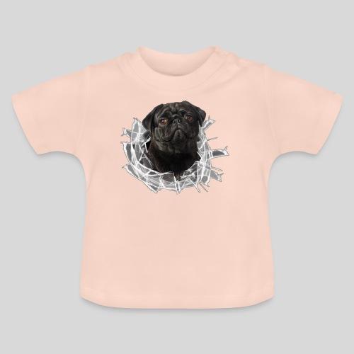 Schwarzer Mops im Glas Loch - Baby T-Shirt