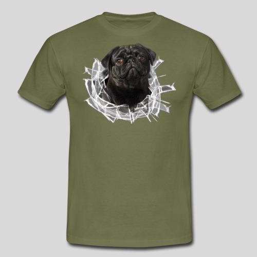 Schwarzer Mops im Glas Loch - Männer T-Shirt