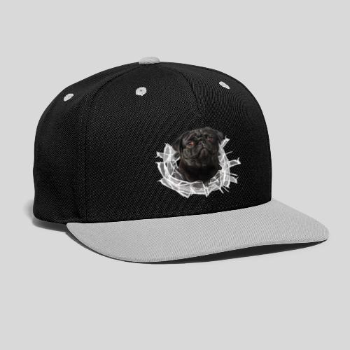 Schwarzer Mops im Glas Loch - Kontrast Snapback Cap