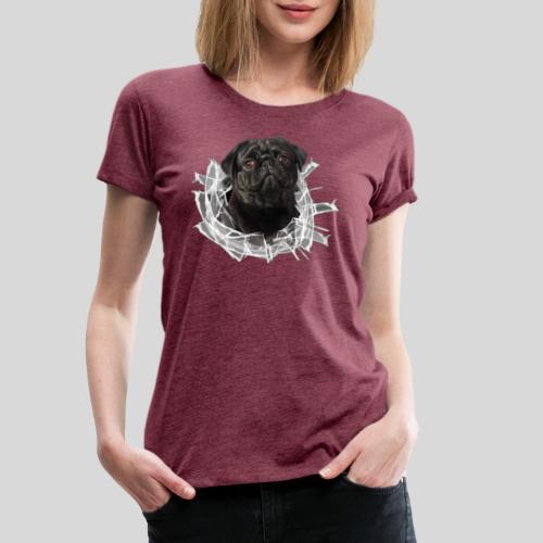 Schwarzer Mops im Glas Loch - Frauen Premium T-Shirt