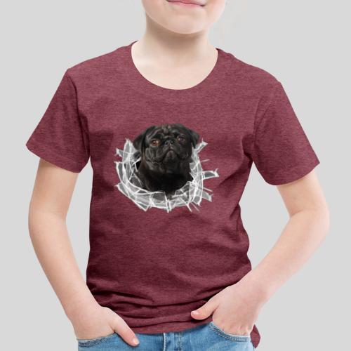 Schwarzer Mops im Glas Loch - Kinder Premium T-Shirt