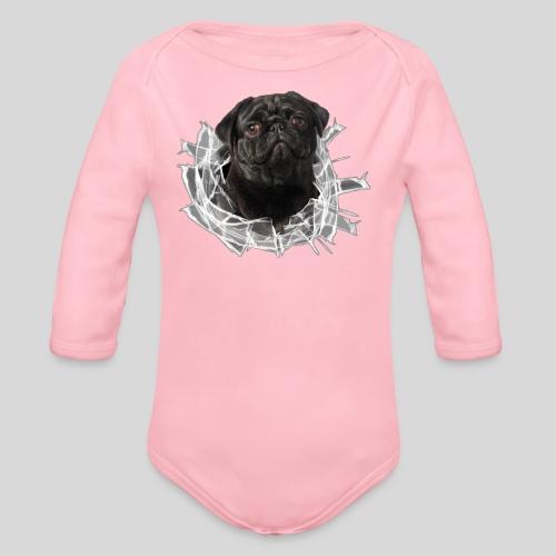Schwarzer Mops im Glas Loch - Baby Bio-Langarm-Body