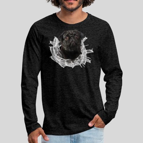 Schwarzer Mops im Glas Loch - Männer Premium Langarmshirt