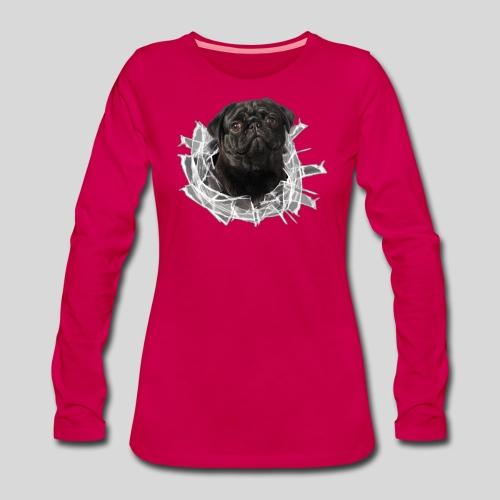Schwarzer Mops im Glas Loch - Frauen Premium Langarmshirt