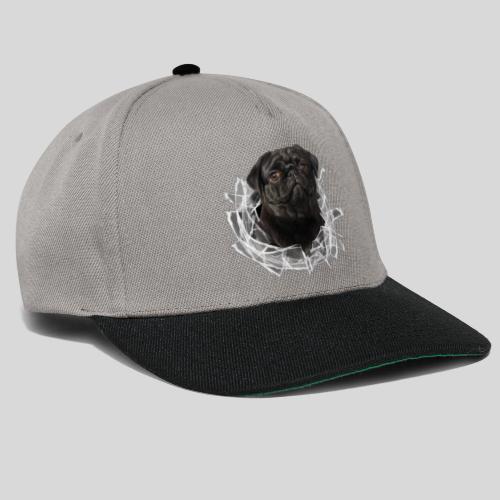 Schwarzer Mops im Glas Loch - Snapback Cap