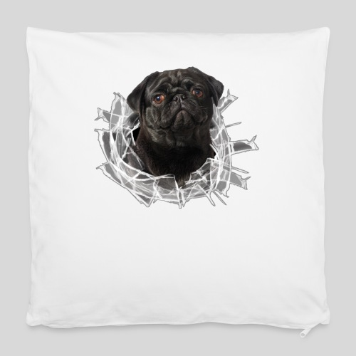 Schwarzer Mops im Glas Loch - Kissenbezug 40 x 40 cm