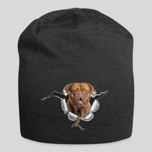 Bordeaux Dogge im Metall Loch - Jersey-Beanie