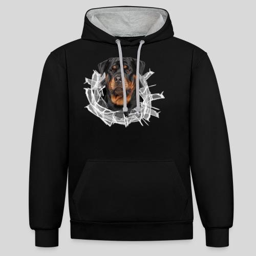 Rottweiler im Glas Loch - Kontrast-Hoodie