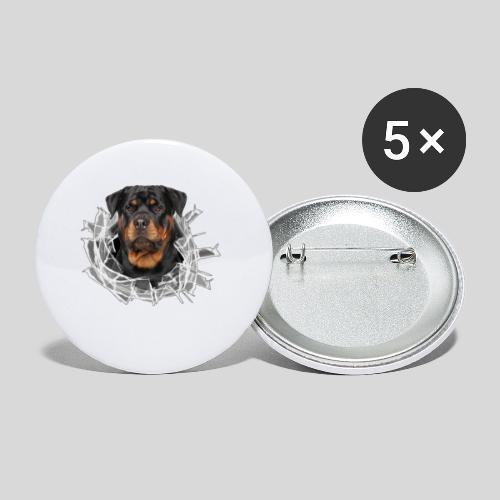 Rottweiler im Glas Loch - Buttons klein 25 mm (5er Pack)