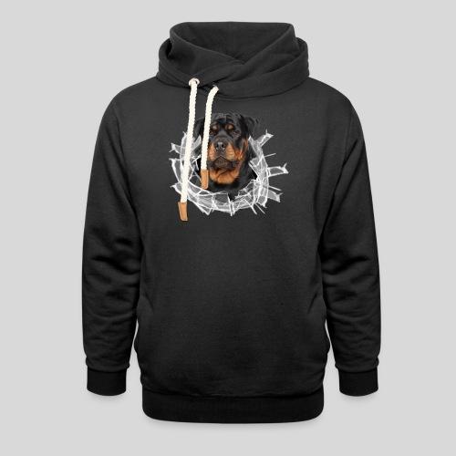 Rottweiler im Glas Loch - Schalkragen Hoodie