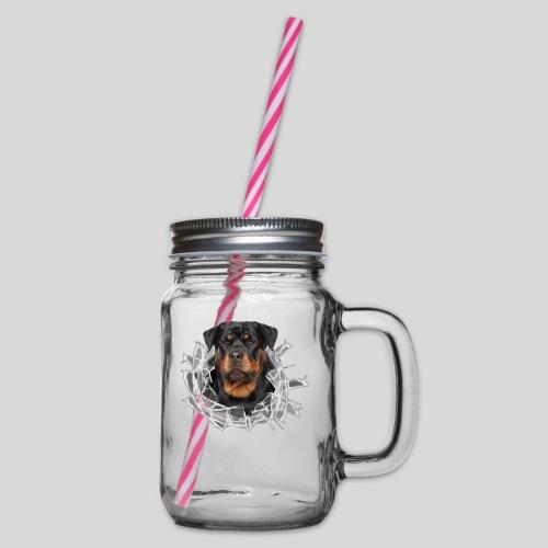 Rottweiler im Glas Loch - Henkelglas mit Schraubdeckel