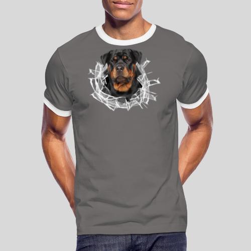 Rottweiler im Glas Loch - Männer Kontrast-T-Shirt