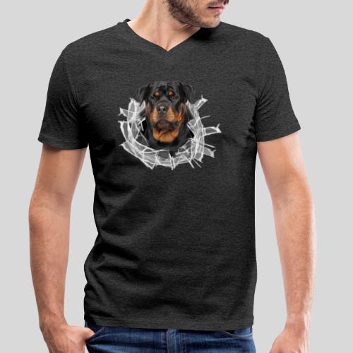 Rottweiler im Glas Loch - Männer Bio-T-Shirt mit V-Ausschnitt von Stanley & Stella