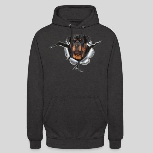 Rottweiler im Metall Loch - Unisex Hoodie